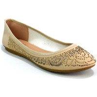 Shoes Girl Flat shoes Reveal Love Your Look Girls Flat Diamante Ballerina Beige