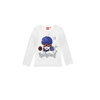 Clothing Girl Long sleeved tee-shirts TEAM HEROES  MIRACULOUS LADYBUG White