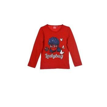 Clothing Girl Long sleeved tee-shirts TEAM HEROES MIRACULOUS LADYBUG Red