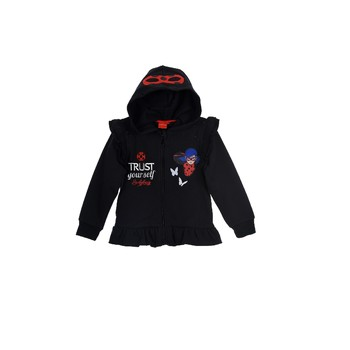 Clothing Girl Sweaters TEAM HEROES  MIRACULOUS LADYBUG SWEAT Black