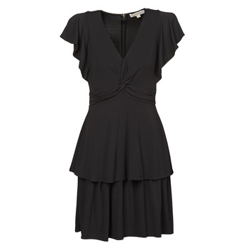 Clothing Women Short Dresses MICHAEL Michael Kors TWIST RUFFLE DRESS Black