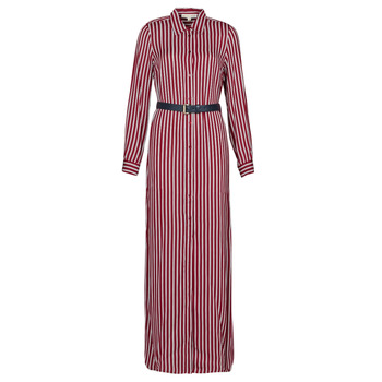 Clothing Women Long Dresses MICHAEL Michael Kors WARM PLAYFL SHIRT DR Bordeaux / White / Marine