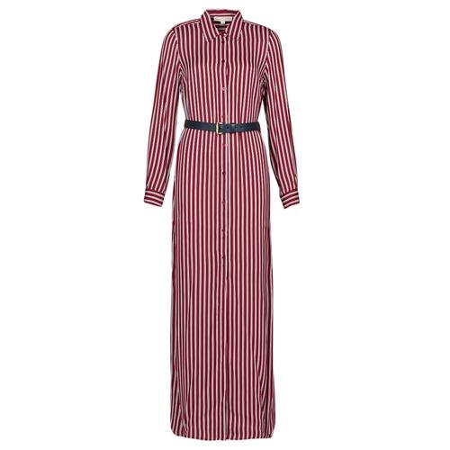 Clothing Women Long Dresses MICHAEL Michael Kors WARM PLAYFL SHIRT DR Bordeaux / White / Marine