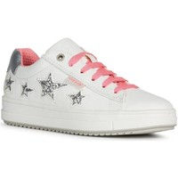Shoes Girl Low top trainers Geox J02BDB-000BC-C0563 J Rebecca Girl B White and Fuchsia