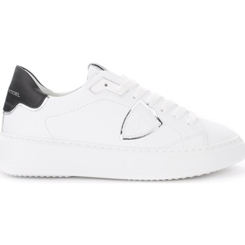 Shoes Women Low top trainers Philippe Model Temple white leather sneakers with black and silver spoiler White