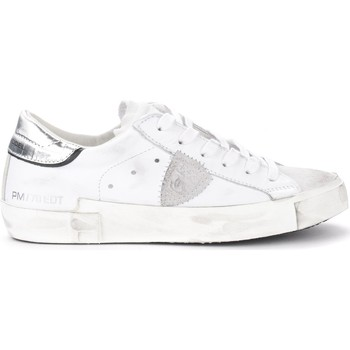 Shoes Women Low top trainers Philippe Model Paris X sneaker in white leather with silver spoiler White