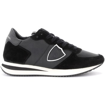 Shoes Women Low top trainers Philippe Model Tropez X sneaker in black leather and suede Black