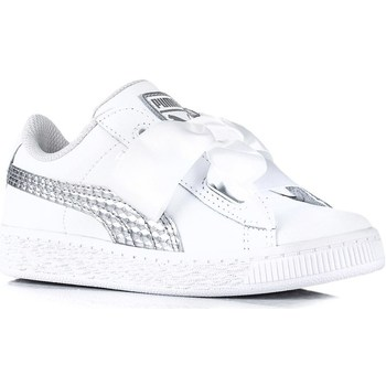 Shoes Children Low top trainers Puma Heart Coated Glam PS White,Silver