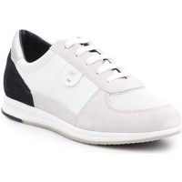Shoes Women Low top trainers Geox D Avery White,Black,Beige