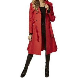 Clothing Women Trench coats Anastasia Red Belted Trench Coat red