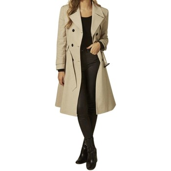 Clothing Women Coats Anastasia Beige Belted Trench Coat BEIGE