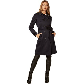 Clothing Women Coats De La Creme Double Breasted Trench Coat Blue