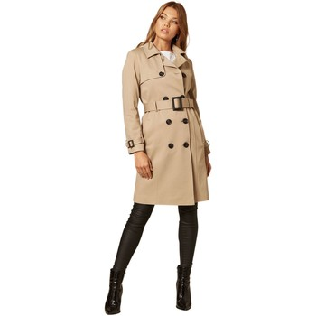 Clothing Women Coats De La Creme Double Breasted Trench Coat BEIGE
