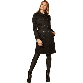 Clothing Women Coats De La Creme Double Breasted Trench Coat Black