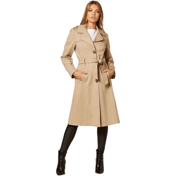 Clothing Women Coats De La Creme Single Breasted Trench Coat BEIGE
