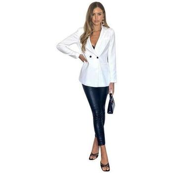 Clothing Women Jackets / Blazers Anastasia Coast Cream Double  Breasted Blazer White
