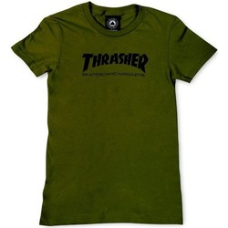 Clothing Women Short-sleeved t-shirts Thrasher Olive Skate Mag Logo Womens T-Shirt Black