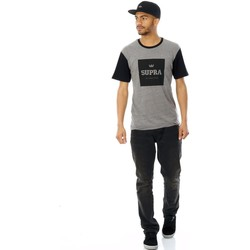 Clothing Men Short-sleeved t-shirts Supra Grey Heather-Black International T-Shirt Grey