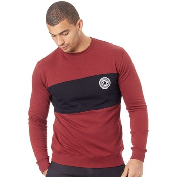 Clothing Men Sweaters DC Shoes Cabernet Rebel Crew Block Sweater Red