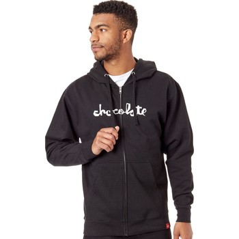 Clothing Men Sweaters Chocolate Black Chunk Line Zip Hoody Black