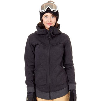 Clothing Women Fleeces Burton True Black Heather Minxy Womens Snowboarding Zip Hoody Black