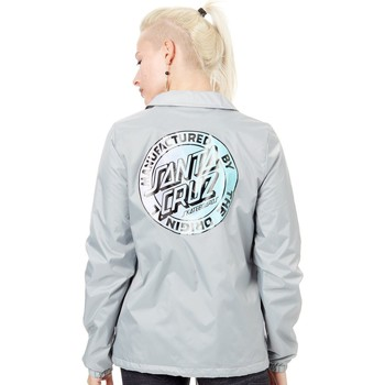 Clothing Women Jackets Santa Cruz Light Grey MFG Fade Coach Womens Jacket Grey