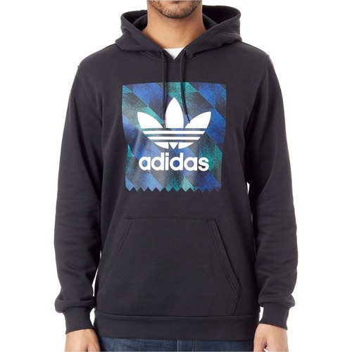 Clothing Men Sweaters adidas Originals Black-White-Active Blue-Active Green Towning Hoody Black