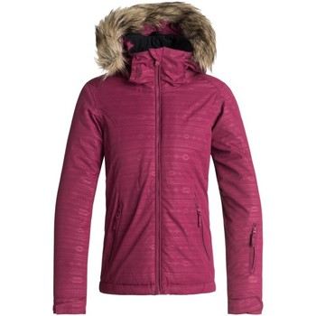 Clothing Girl Jackets Roxy Beet Red-Indie Stripes Jet Embossed Girls Ski Jacket Red