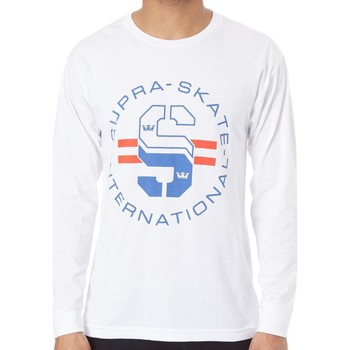 Clothing Men Long sleeved tee-shirts Supra White  Skate Long Sleeved T-Shirt White