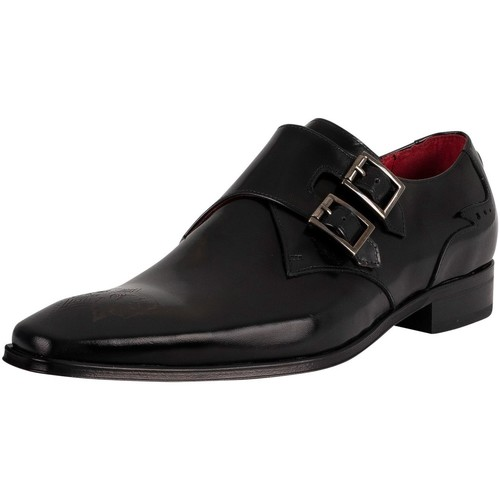 Shoes Men Loafers Jeffery-West Monk Polished Leather Shoes black
