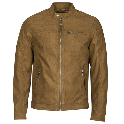 Clothing Men Leather jackets / Imitation leather Jack & Jones JJEROCKY Cognac