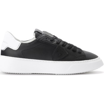 Shoes Men Low top trainers Philippe Model Temple sneaker in black leather Black