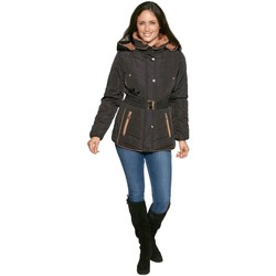 Clothing Women Parkas De La Creme David Barry Padded Short Parka With Adjustable Belt Black