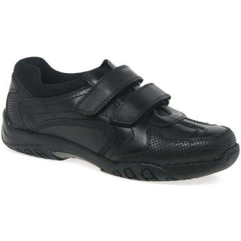 Shoes Boy Low top trainers Hush puppies Jezza Boys Junior Rip Tape Trainer School Shoes black
