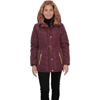 Clothing Women Parkas De La Creme David Barry Padded Short Parka With Adjustable Belt Bordeaux