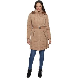 Clothing Women Parkas De La Creme David Barry Womens Belted Padded Warm Winter Coat Gold