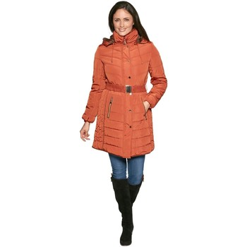 Clothing Women Parkas De La Creme David Barry Womens Belted Padded Warm Winter Coat Orange