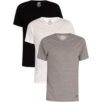 Clothing Men Short-sleeved t-shirts Lyle & Scott 3 Pack Parker Lounge V-Neck T-Shirts multicoloured