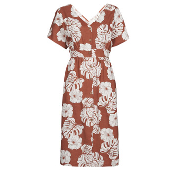 Clothing Women Long Dresses Roxy SUNNY MEMORIES SLUB Brown