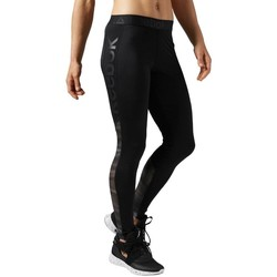 Clothing Women Leggings Reebok Sport Workout Show Mesh Logo Black