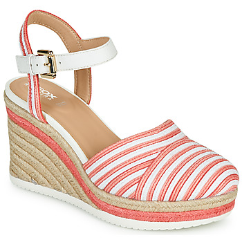 Shoes Women Sandals Geox D PONZA Red / White