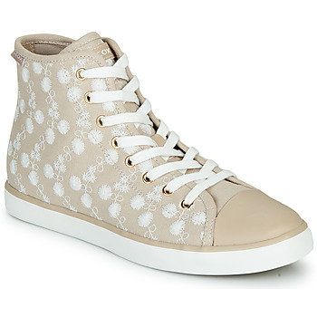 Shoes Girl Hi top trainers Geox JR CIAK FILLE Beige