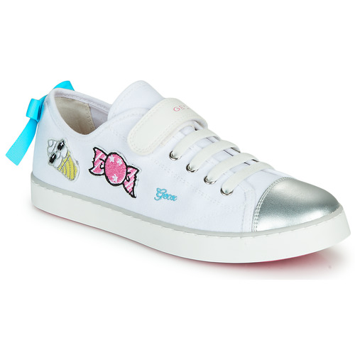 Shoes Girl Low top trainers Geox JR CIAK FILLE White / Silver