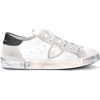 Shoes Men Trainers Philippe Model Paris X sneaker in white leather and suede Grey