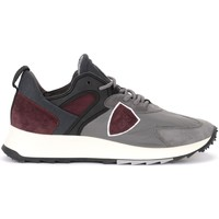 Shoes Men Trainers Philippe Model Royale sneaker in gray fabric and burgundy suede Grey