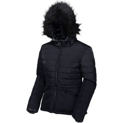 Clothing Women Duffel coats Regatta Westlynn Insulated Quilted Fur Trimmed Hooded Jacket Blue Blue