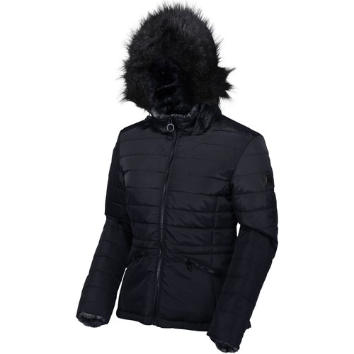 Clothing Women Duffel coats Regatta Women's Westlynn Insulated Quilted Fur Trimmed Hooded Jacket Blue