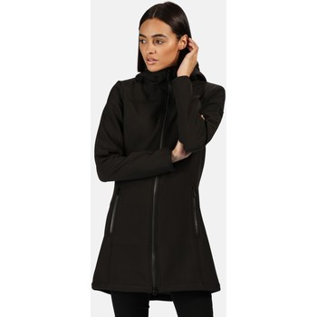 Clothing Women Coats Regatta Women's Alerie Longline Wind Resistant Hooded Softshell Jacket Black