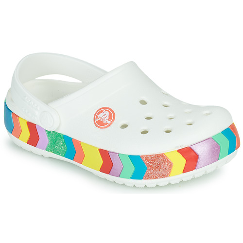 Shoes Girl Clogs Crocs CROCBAND CHEVRON BEADED CLOG K White / Multicoloured