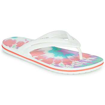 Shoes Women Flip flops Crocs CROCBAND TIE DYE FLIP W White / Multicolour